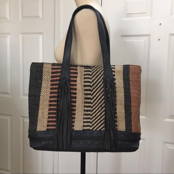 2d0619a17de Zara Woven Jute + Leather & Fringe Travel Tote Bag.  M_5a8c7539a44dbe7773f52b99